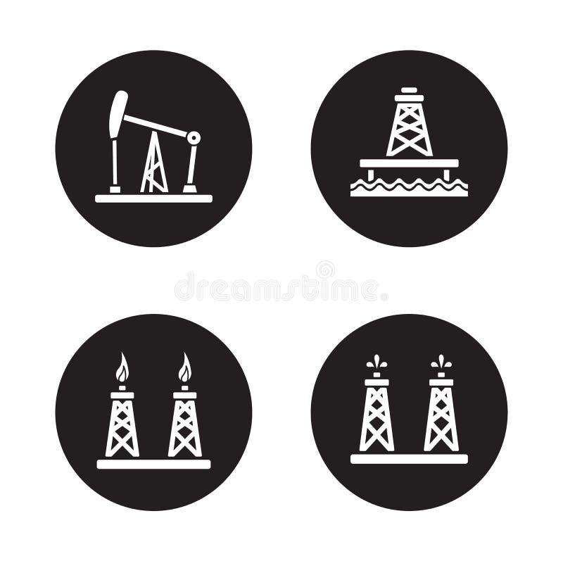 Μαύρα εικονίδια γεώτρησης πετρελαίου καθορισμένα ελεύθερη απεικόνιση δικαιώματος