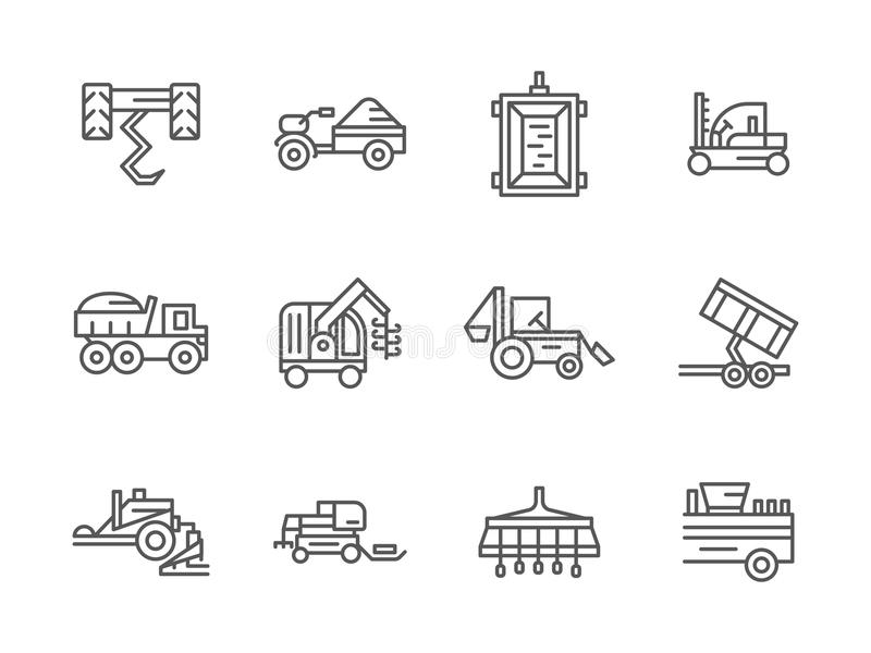 Μαύρα εικονίδια γραμμών αγροτικών μηχανημάτων διανυσματική απεικόνιση