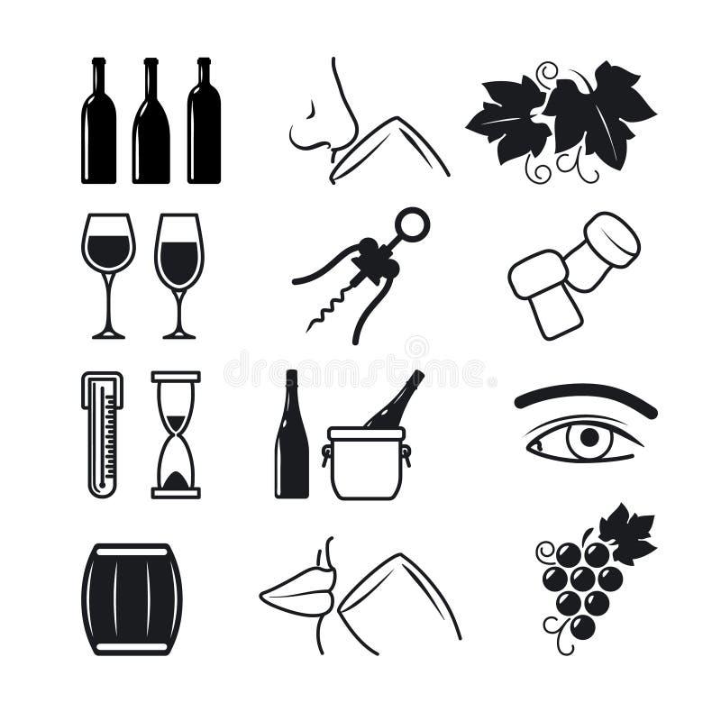 Μαύρα εικονίδια κρασιού καθορισμένα ελεύθερη απεικόνιση δικαιώματος