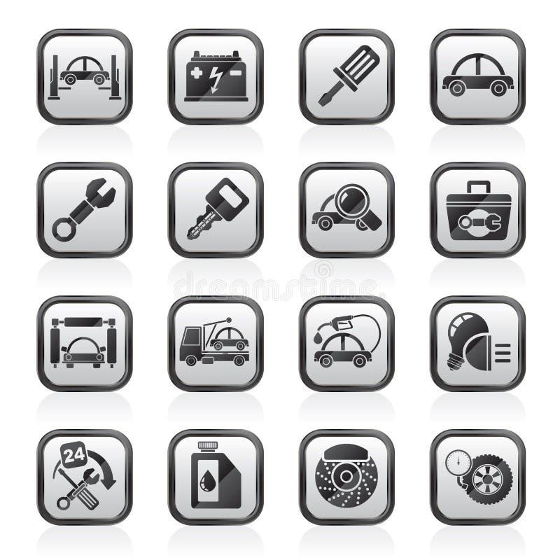 Μαύρα εικονίδια μιας άσπρα αυτοκινήτων υπηρεσιών συντήρησης ελεύθερη απεικόνιση δικαιώματος