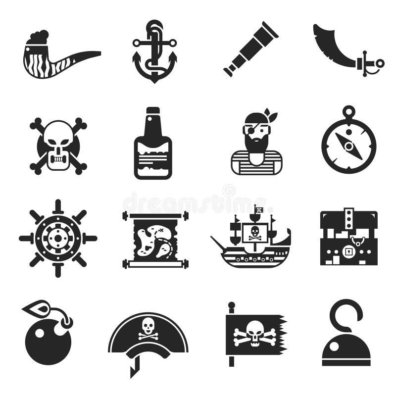 Μαύρα εικονίδια πειρατών καθορισμένα διανυσματική απεικόνιση