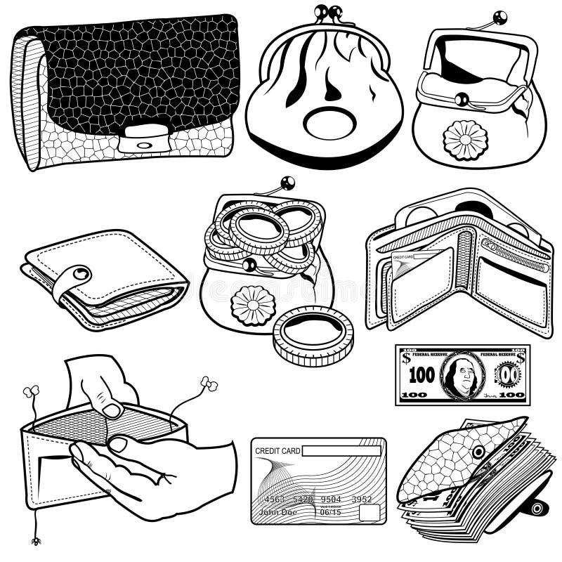 Μαύρα εικονίδια πορτοφολιών διανυσματική απεικόνιση