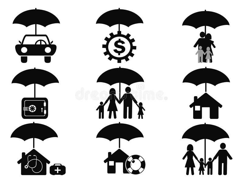 Μαύρα εικονίδια που τίθενται ασφαλιστικά με την ομπρέλα διανυσματική απεικόνιση