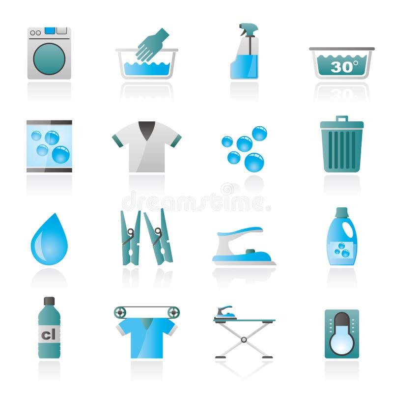 Μαύρα εικονίδια πλυντηρίων και πλυντηρίων απεικόνιση αποθεμάτων