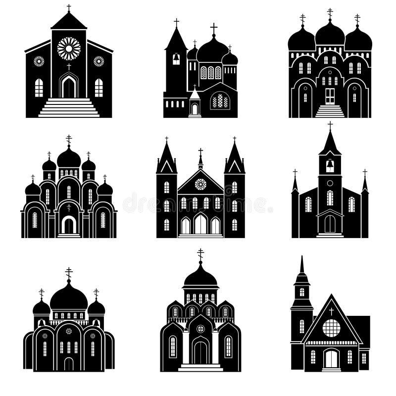 Μαύρα εικονίδια σκιαγραφιών εκκλησιών απεικόνιση αποθεμάτων