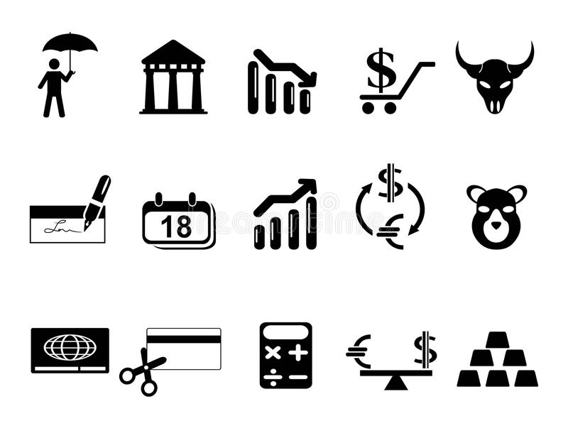 Μαύρα εικονίδια τραπεζών και χρηματοδότησης καθορισμένα διανυσματική απεικόνιση