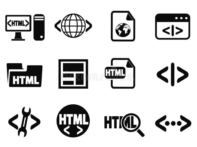 Μαύρα εικονίδια HTML καθορισμένα απεικόνιση αποθεμάτων