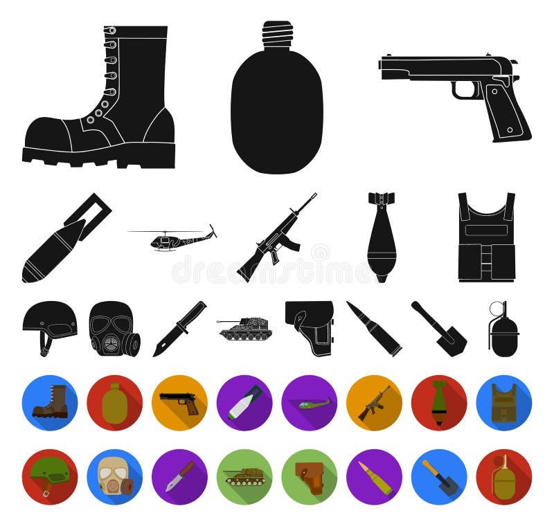 Μαύρα, επίπεδα εικονίδια στρατού και εξοπλισμών στην καθορισμένη συλλογή για το σχέδιο Όπλα και διανυσματικός Ιστός αποθεμάτων συ διανυσματική απεικόνιση