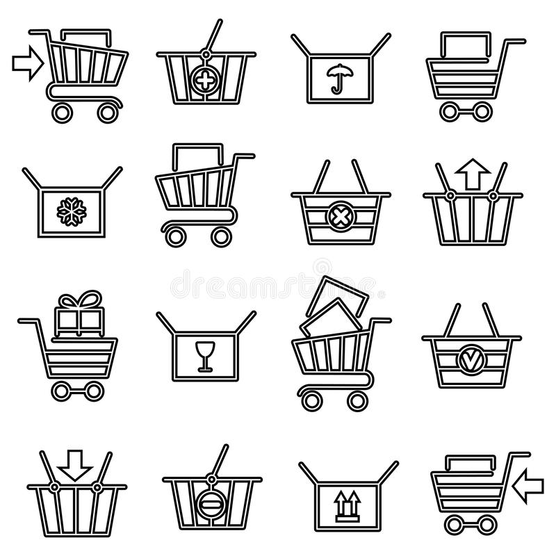 Μαύρα λεπτά εικονίδια κάρρων αγορών γραμμών απεικόνιση αποθεμάτων