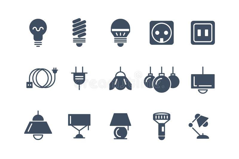 Μαύρα διανυσματικά εικονίδια λαμπτήρων και βολβών καθορισμένα Ηλεκτρικά σύμβολα ελεύθερη απεικόνιση δικαιώματος