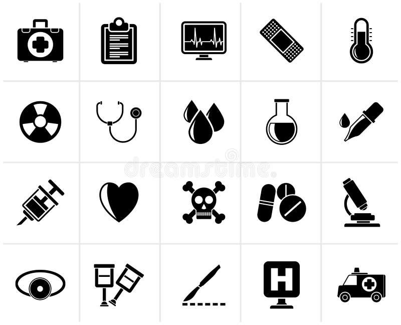 Μαύρα ιατρικά εργαλεία και εικονίδια εξοπλισμού υγειονομικής περίθαλψης διανυσματική απεικόνιση
