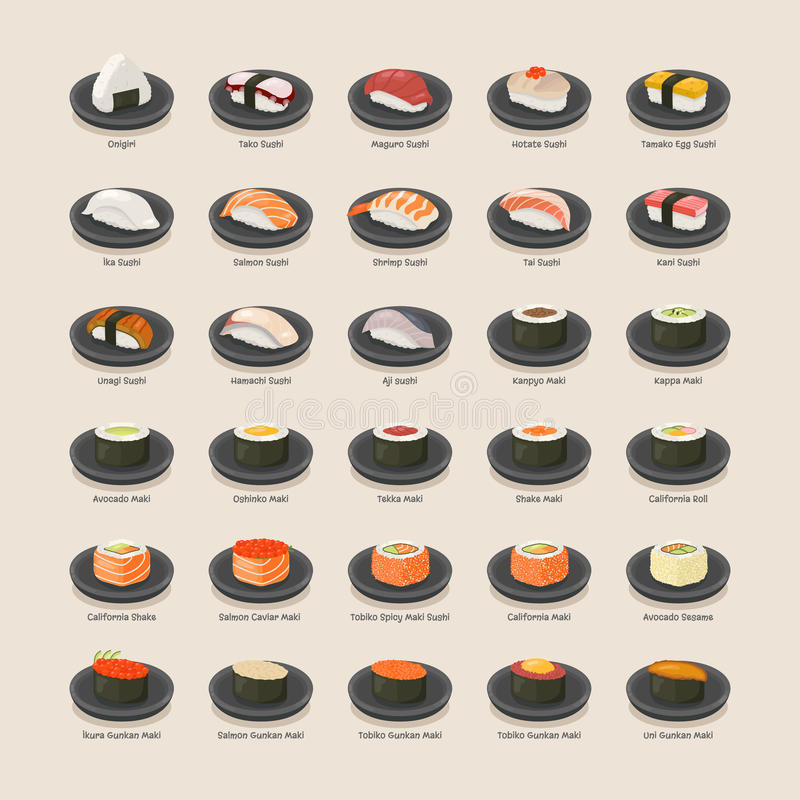 μαύρα καθορισμένα καλυμμένα σούσια διανυσματική απεικόνιση