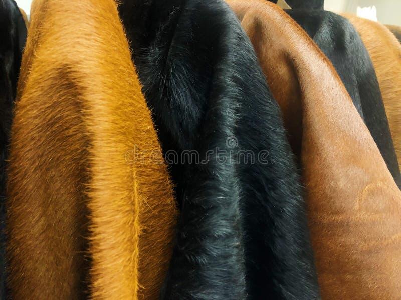 Μαύρα και καφετιά δέρματα αγελάδων στο κατάστημα στοκ εικόνα με δικαίωμα ελεύθερης χρήσης