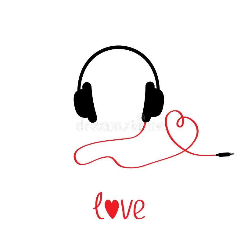 Μαύρα και κόκκινα ακουστικά και σκοινί στη μορφή της καρδιάς.  Άσπρη πλάτη ελεύθερη απεικόνιση δικαιώματος