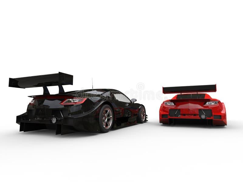 Μαύρα και κόκκινα σύγχρονα αυτοκίνητα αθλητικής έννοιας - πίσω άποψη απεικόνιση αποθεμάτων