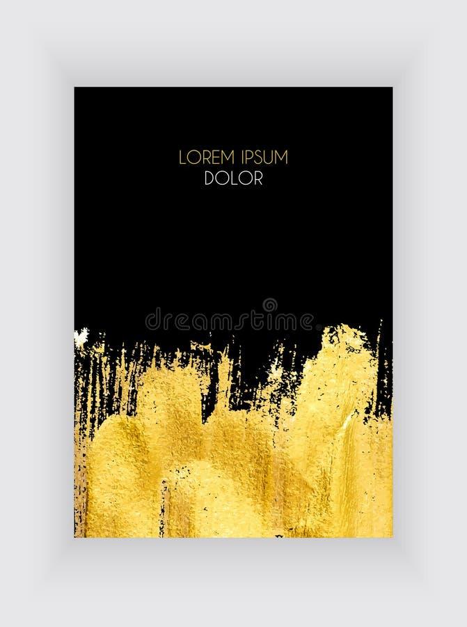 Μαύρα και χρυσά πρότυπα σχεδίου για τα φυλλάδια και τα εμβλήματα Χρυσή αφηρημένη διανυσματική απεικόνιση υποβάθρου διανυσματική απεικόνιση