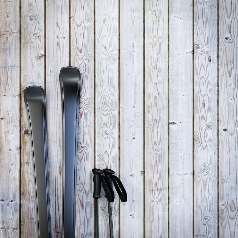 Μαύρα κενά σκι στον ξύλινο τοίχο σανίδων, χειμερινό υπόβαθρο στοκ φωτογραφίες