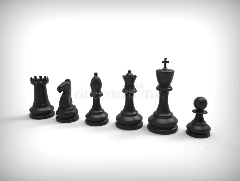 Μαύρα κομμάτια σκακιού στο υπόβαθρο απεικόνιση αποθεμάτων
