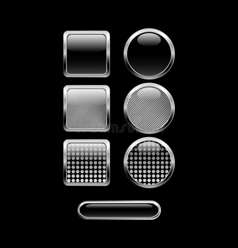 μαύρα κουμπιά στιλπνά διανυσματική απεικόνιση