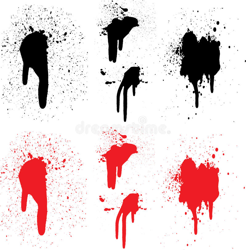 μαύρα κόκκινα splats χρωμάτων απεικόνιση αποθεμάτων
