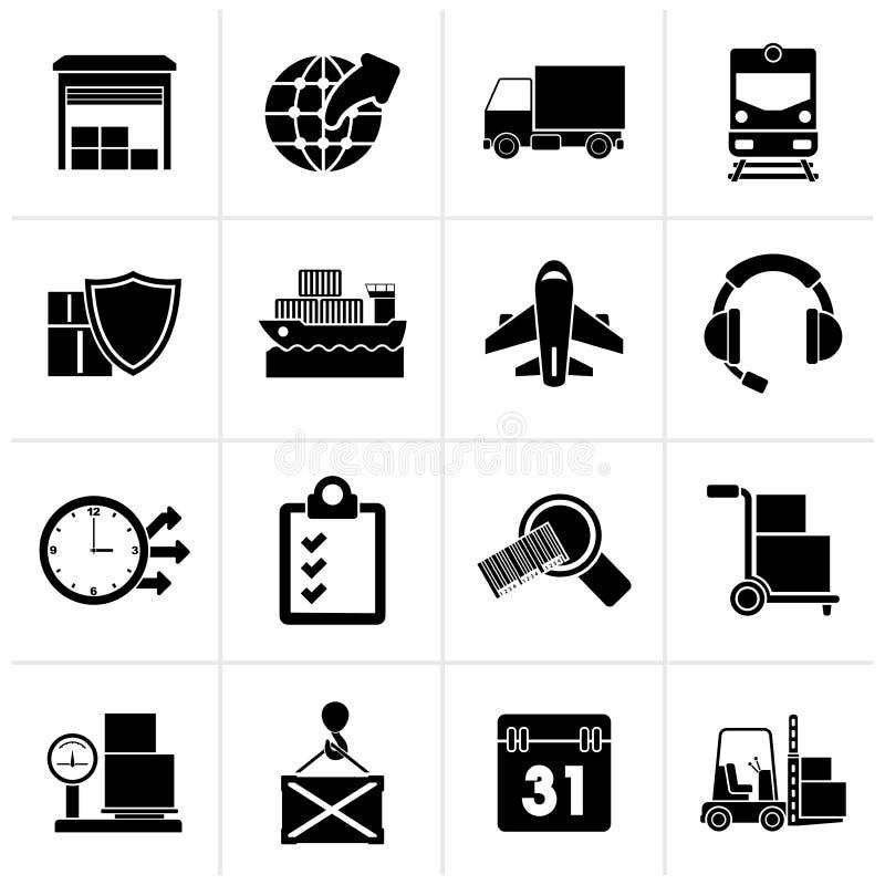 Μαύρα λογιστικά, εικονίδια φορτίου και μεταφορών ελεύθερη απεικόνιση δικαιώματος