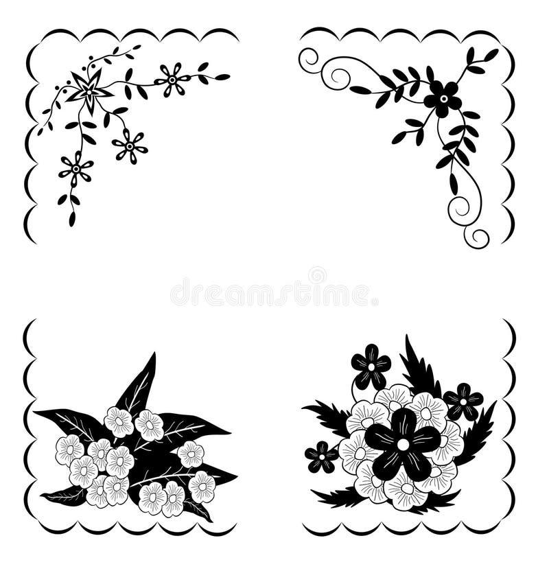 μαύρα λουλούδια σχεδίο&u απεικόνιση αποθεμάτων