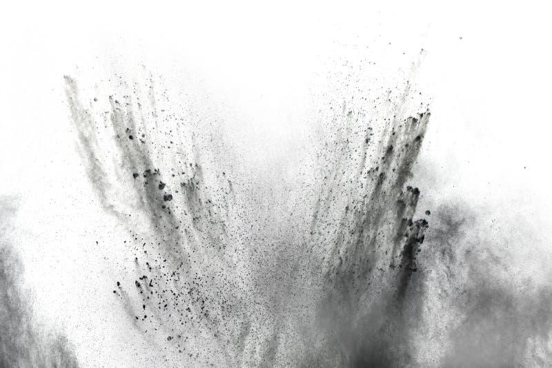 Μαύρα μόρια του παφλασμού ξυλάνθρακα στο άσπρο υπόβαθρο στοκ εικόνες με δικαίωμα ελεύθερης χρήσης