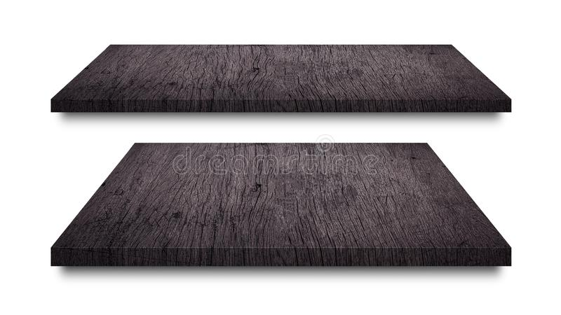 Μαύρα ξύλινα ράφια που απομονώνονται στο άσπρο υπόβαθρο Κενή ξύλινη επίδειξη ραφιών ή προϊόντων r στοκ φωτογραφία με δικαίωμα ελεύθερης χρήσης