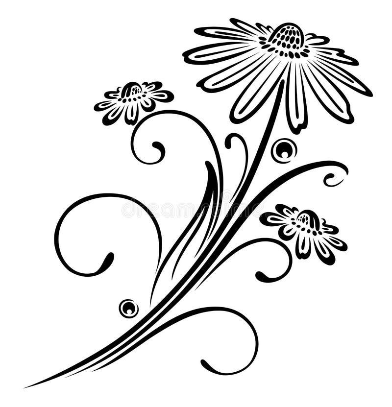 Μαύρα λουλούδια διανυσματική απεικόνιση