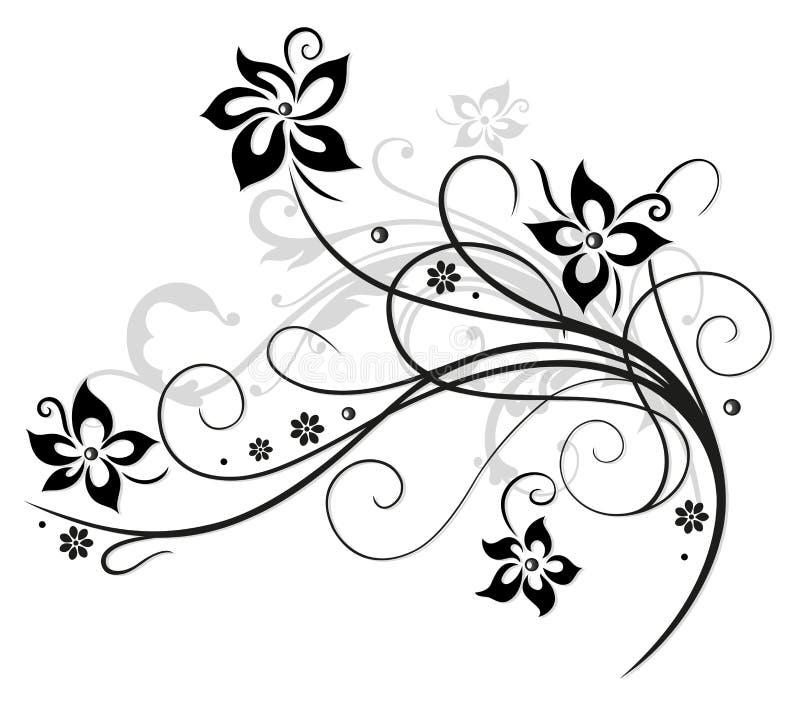 Μαύρα λουλούδια, floral στοιχείο απεικόνιση αποθεμάτων