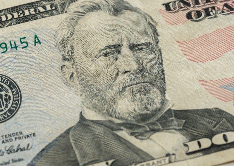 μαύρα δολάρια πενήντα απομονωμένο επιχορήγηση πορτρέτο s τραπεζογραμματίων εικόνων ulysses εμείς λευκοί Πρόσωπο επιχορήγησης στη  στοκ φωτογραφία με δικαίωμα ελεύθερης χρήσης