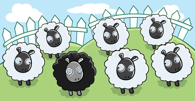 μαύρα πρόβατα διανυσματική απεικόνιση