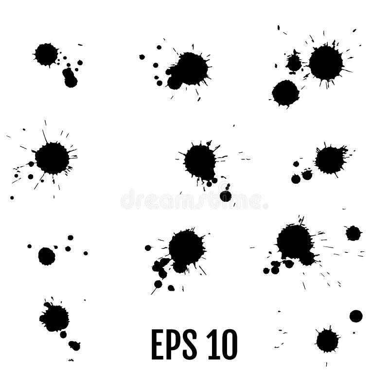 Μαύρα σημεία χρωμάτων μελανιού Σύσταση πτώσεων που απομονώνεται στο άσπρο backgroun διανυσματική απεικόνιση