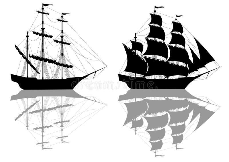 μαύρα σκάφη δύο διανυσματική απεικόνιση