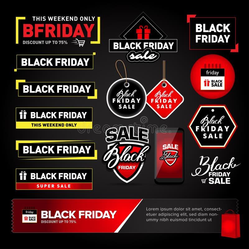 Μαύρα στοιχεία σχεδίου πώλησης Παρασκευής καθορισμένα Μαύρες ετικέτες επιγραφής πώλησης Παρασκευής, αυτοκόλλητες ετικέττες Απομον απεικόνιση αποθεμάτων