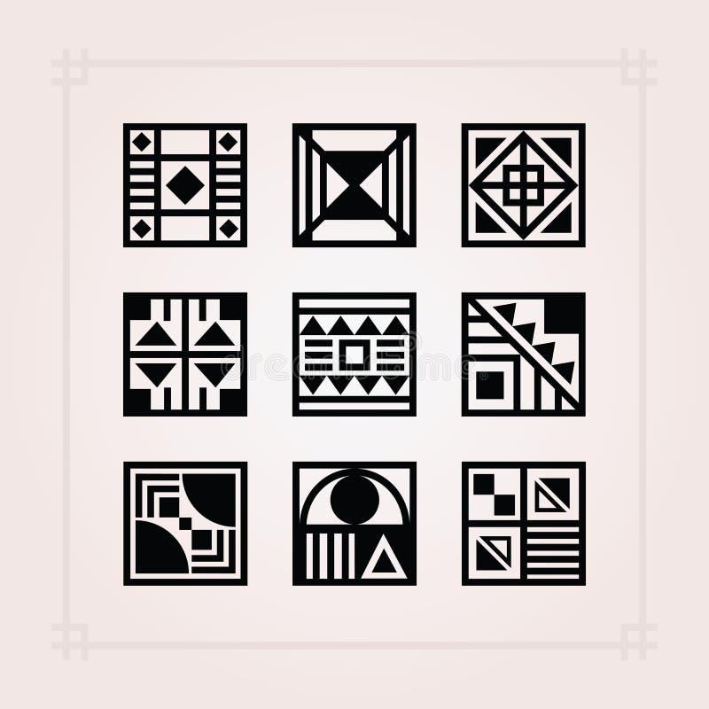 Μαύρα τετραγωνικά εικονίδια κεραμιδιών σχεδίων μορφής που τίθενται στο ρόδινο υπόβαθρο διανυσματική απεικόνιση