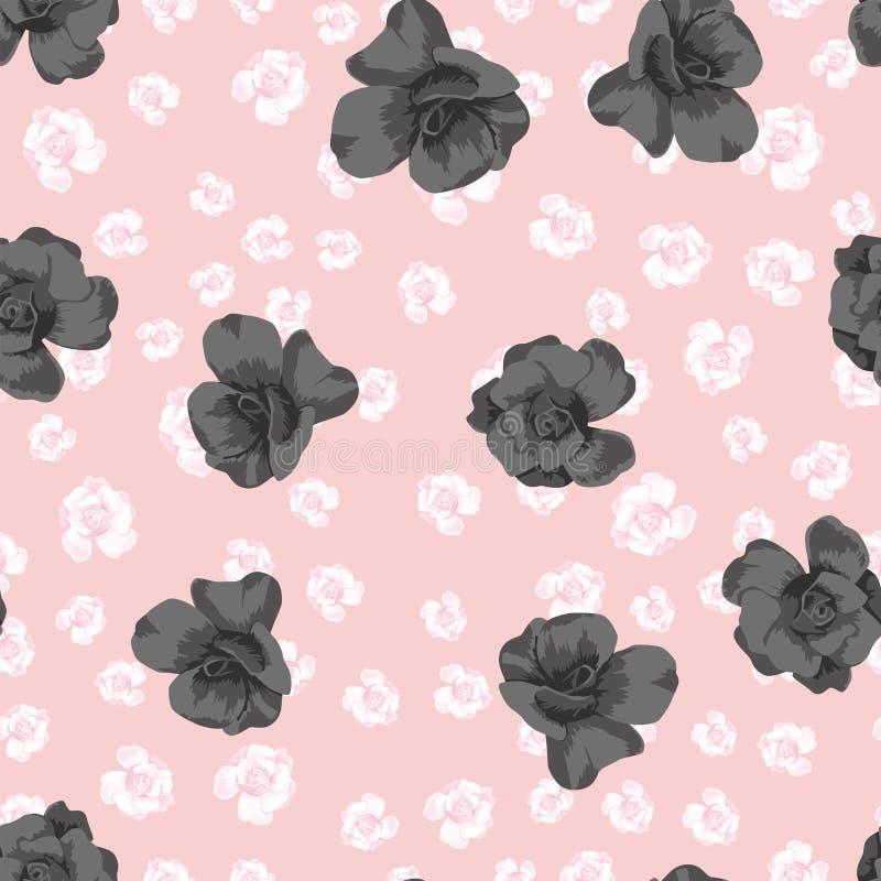 Μαύρα τριαντάφυλλα στο ρόδινο υπόβαθρο λουλουδιών διανυσματική απεικόνιση