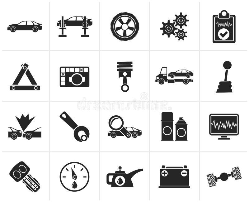 Μαύρα υπηρεσίες αυτοκινήτων και εικονίδια μεταφορών διανυσματική απεικόνιση