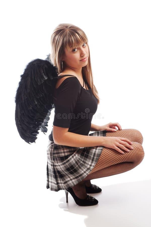 μαύρα φτερά κοριτσιών στοκ φωτογραφία με δικαίωμα ελεύθερης χρήσης