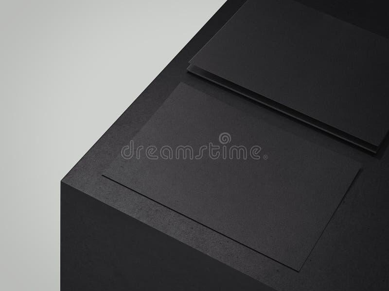 Μαύρα φύλλα χαρτονιού στο μαύρο κύβο, τρισδιάστατη απόδοση στοκ φωτογραφία με δικαίωμα ελεύθερης χρήσης