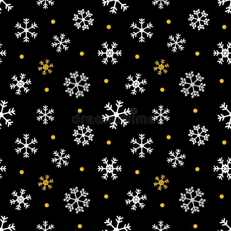 Μαύρα, χρυσά και άσπρα Χριστούγεννα, υπόβαθρο χειμερινών άνευ ραφής σχεδίων διανυσματική απεικόνιση