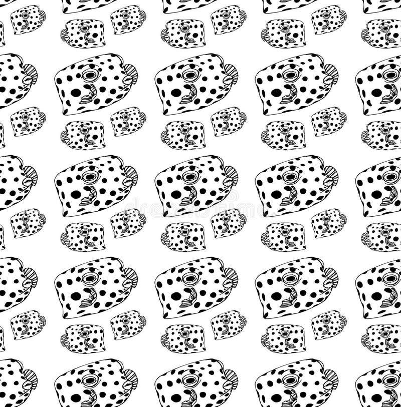 Μαύρα ψάρια γραμμών σχεδίων ψάρι-κιβωτίων απεικόνιση αποθεμάτων