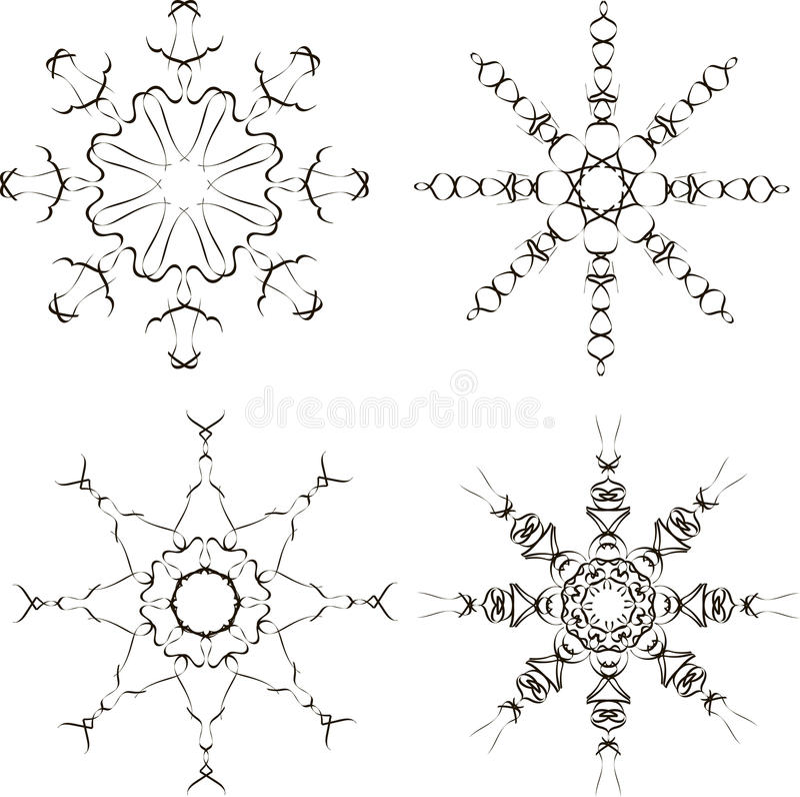 Μαύρα snowflakes σε ένα άσπρο υπόβαθρο απεικόνιση αποθεμάτων