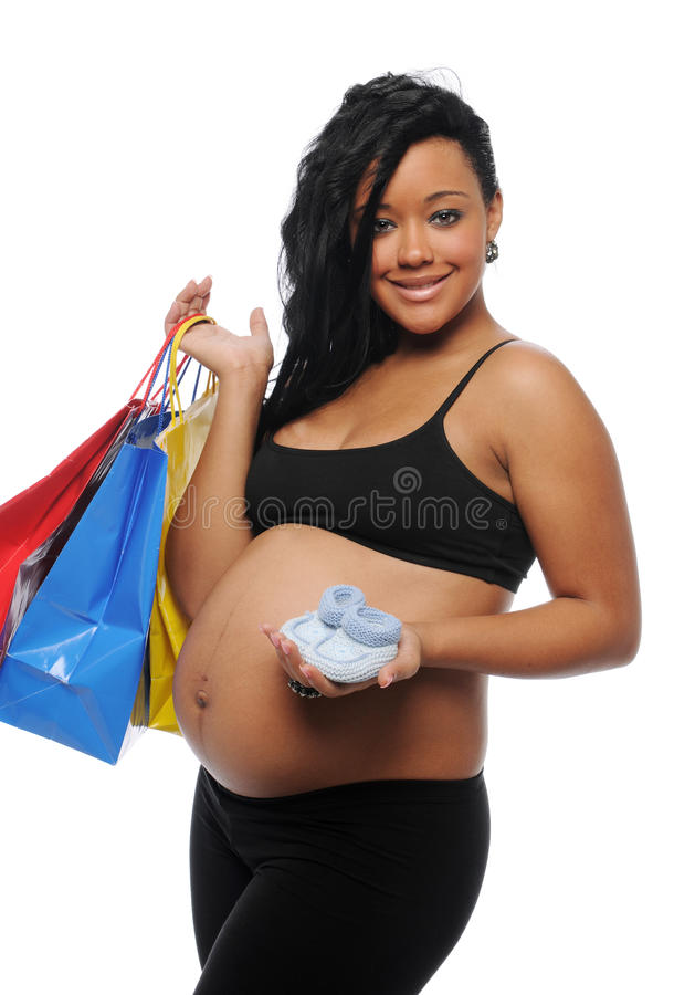 μαύρες έγκυες ψωνίζοντα&sigm στοκ εικόνες με δικαίωμα ελεύθερης χρήσης