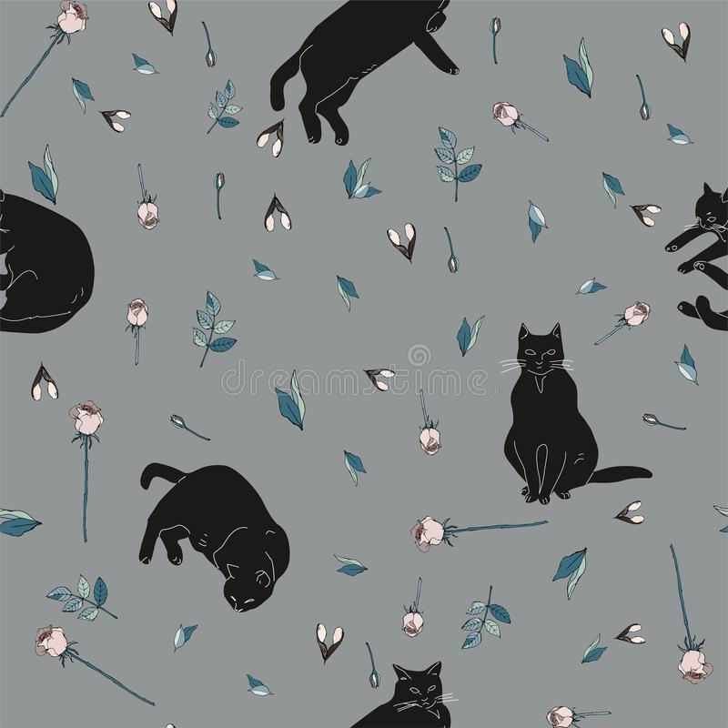 Μαύρες γάτες και ρόδινα τριαντάφυλλα με τα πράσινα φύλλα στην γκρίζα απεικόνιση υποβάθρου πρότυπο άνευ ραφής ελεύθερη απεικόνιση δικαιώματος
