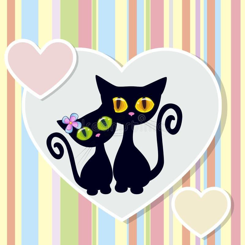 μαύρες γάτες δύο διανυσματική απεικόνιση