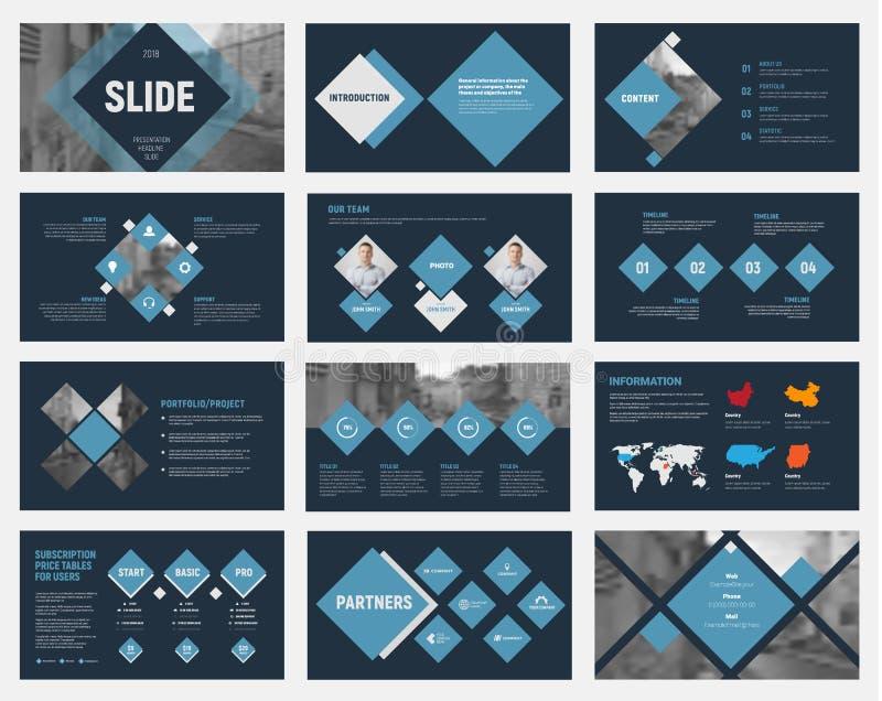 Μαύρες διανυσματικές φωτογραφικές διαφάνειες με τα μπλε rhombuses για το ετήσιο επιχειρησιακό repo ελεύθερη απεικόνιση δικαιώματος