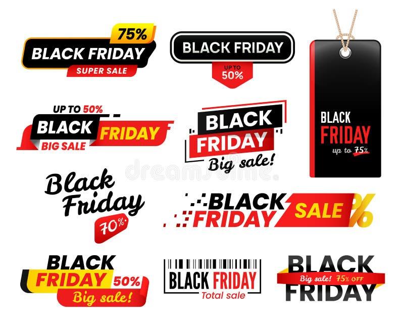 Μαύρες ετικέτες Παρασκευής Η αυτοκόλλητη ετικέττα πώλησης για τις πωλήσεις Παρασκευών ημέρας των ευχαριστιών, αυτοκόλλητες ετικέτ διανυσματική απεικόνιση