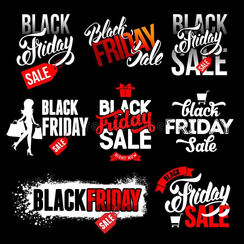 Μαύρες ετικέτες πώλησης Παρασκευής καθορισμένες ελεύθερη απεικόνιση δικαιώματος