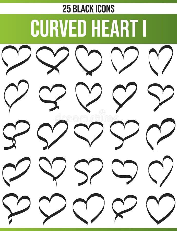 Μαύρες καθορισμένες κυρτές καρδιές Ι εικονιδίων ελεύθερη απεικόνιση δικαιώματος